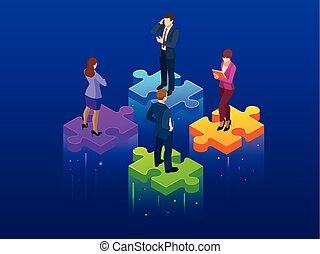 Isometric collaboration and teamwork concept. Simple 4 piece puzzle wallpaper. Vector illustration