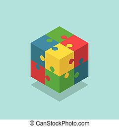 Isometric color cube puzzle