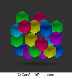 Isometric color cubes on the black background