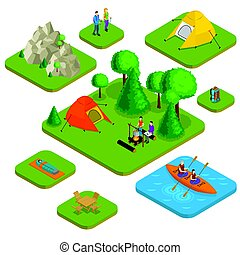 Isometric Colorful Active Recreation Concept