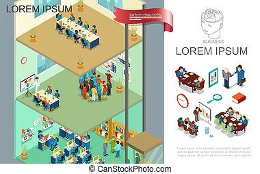 Isometric Colorful Business Composition
