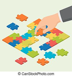 Isometric colorful jigsaw puzzle and hand holding one piece...