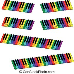 isometric colorful piano keyboard