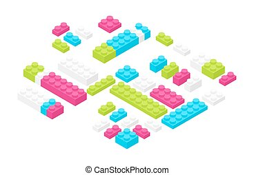 Isometric colorful plastic construction details, parts or pieces isolated on white background. Bright interlocking toy bricks or building blocks. Constructing set for children. Vector illustration.