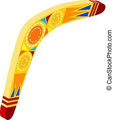 isometric, colorido, madeira, tribal, objeto, ilustração, caricatura, experiência., vetorial, boomerang., lizard., boomerang, branca, australiano, estoque