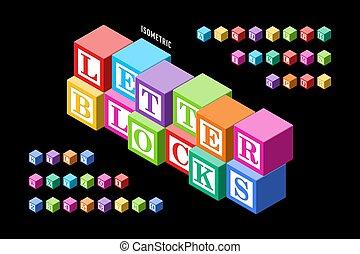 isometric, coloridos, letra, blocos, alfabeto