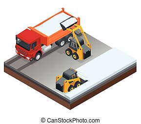 Isometric Compact Excavators. Small excavator bobcat and truck working on the street cleaning snow isolated on a white background