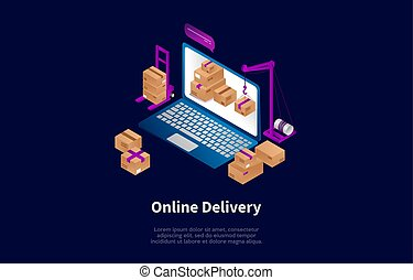 Isometric Composition, Cartoon 3D Style. Vector Illustration, Dark Background With Text And Elements. Online Delivery Concept Design. Laptop With Cardboard Parcel Boxes On Screen, Other Packages Near