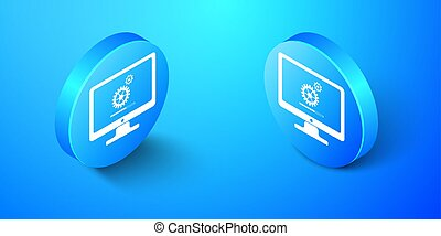 Isometric Computer monitor update process with gear progress and loading bar icon isolated on blue background. Adjusting, setting, maintenance, repair. Blue circle button. Vector