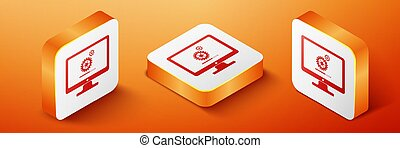 Isometric Computer monitor update process with gear progress and loading bar icon isolated on orange background. Adjusting, setting, maintenance, repair. Orange square button. Vector