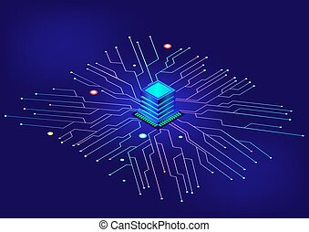 Isometric computer processor chip background.
