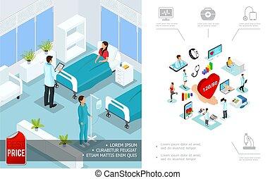 isometric, conceito, cuidado médico
