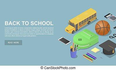 isometric, conceito, escola, estilo, costas, fundo, dia