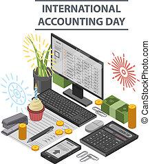 isometric, conceito, estilo, fundo, contabilidade, dia