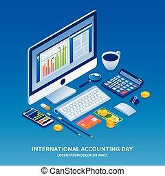 isometric, conceito, estilo, fundo, contabilidade, feriado, dia