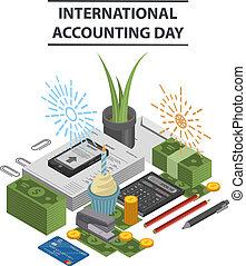 isometric, conceito, estilo, fundo, contabilidade, internacional, dia