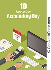 isometric, conceito, estilo, fundo, contabilidade, novembro, dia