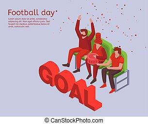 isometric, conceito, estilo, fundo, futebol, dia