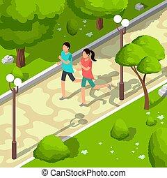 isometric, conceito, estilo vida, illustration., família, saudável, parque, executando, vetorial, desporto, 3d