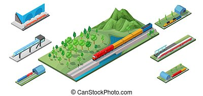 isometric, conceito, estrada ferro, transporte