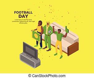 isometric, conceito, futebol, estilo, fundo, dia