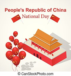 isometric, conceito, nacional, estilo, fundo, china, dia
