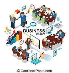 isometric, conceito, negócio