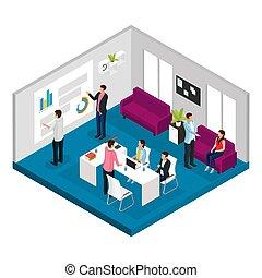 isometric, conceito, reunião, negócio