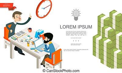 isometric, conceito, trabalho equipe, negócio