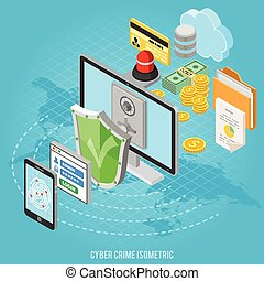 isometric, concept, cyber, misdaad