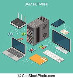 isometric, concept, data, netwerk