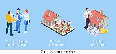 Isometric Concept for Home Agent, Sale and Rent of a House and Buyer or Customer. Property For Sale
