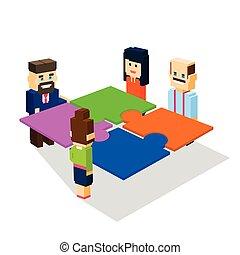 isometric, concept, groep, zakenlui, maken, oplossing, oplossen, teamwork, raadsel, 3d