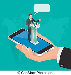 Isometric concept Internet communication, webinar online training education, professional online lectures. Flat style. Messaging, video conversations, conference chat, distance learning.