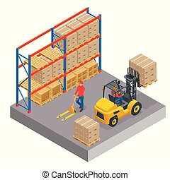 Isometric concept of a warehouse with staff, storage building, shelves with goods, unloading cargo isolated on a white background.