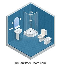 Isometric concept of Bathroom interior design with shower cabin, shower mirror and towels, toilet, bidet, vector illustration