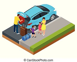 Isometric concept of family car, traveling people with baggage, a mobile taxi call application. Active recreation and travel.