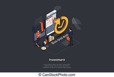 Isometric Concept Of Investments. Woman Business Trainer Giving Financial Consultation To Man Customer About Profit Investments In Market. Data Analysis and Investment Statistics. Vector Illustration