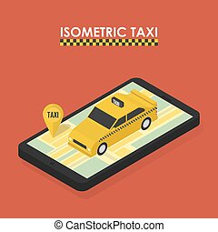 Isometric concept of mobile app for booking taxi
