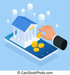 Isometric concept of online banking loan, money loans. Loan document and agreement with pen for signing.