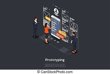 Isometric Concept Of Research and Develop Of Mobile Application. People are Prototyping the Mobile Application. Vector illustration