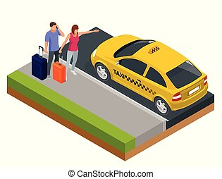 Isometric concept of taxi car, traveling people with baggage, a mobile taxi call application. Active recreation and travel.