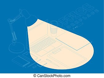 Isometric concept of workplace with computer and office equipment. Vector mockup.