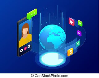 Isometric concept of world global communication with long distance. Man and woman communicating through video chat on phone. Video call chat conference vector illustration