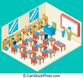 isometric, concept, school, opleiding, stand, 3d