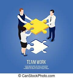 isometric, concept, teamwork, raadsel