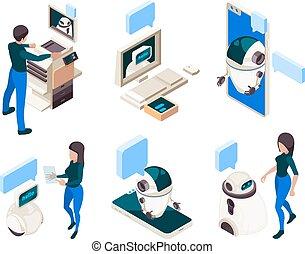 isometric., connexion, pensée, chatbot, gens, machine, intelligent, dialogue, tête humaine, conversation, informatique, concept
