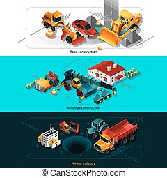 Isometric Construction Machines Banners