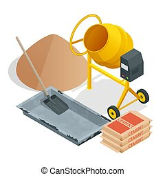Isometric Construction tools and materials. Building. Construction building icon isolated white background.