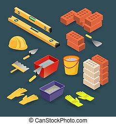 Isometric construction tools. Brick, spatula, mortar, helmet, gloves, level. Vector.
